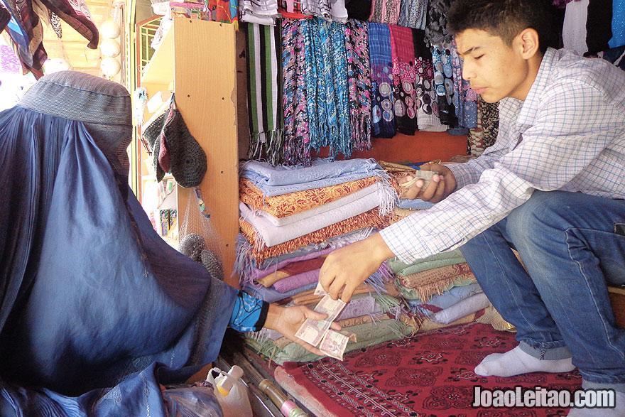 Woman with Afghan Burqa in Mazar-i-Sharif Bazaar