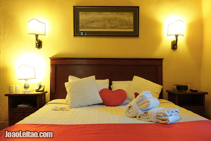 Romantic bed decoration in Hotel de la Opera in Bogota
