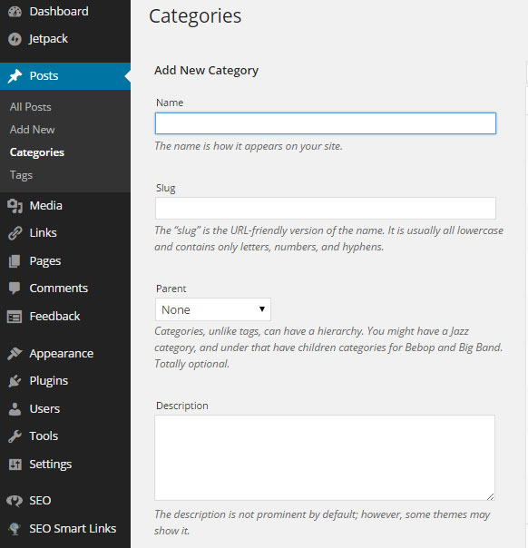 Creating categories on WordPress