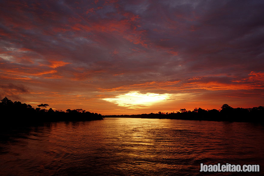 Sunset in the Peruvian Amazon River