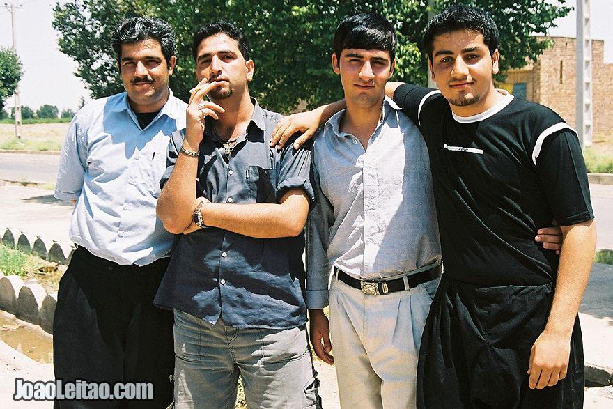 Iranian young men posing