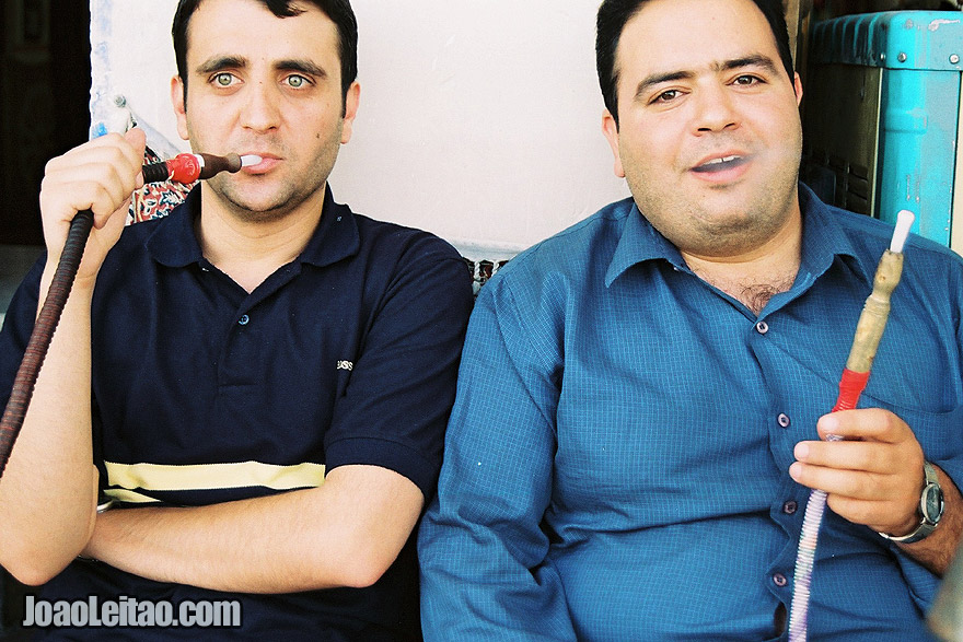 Men smoking hookah in Shiraz