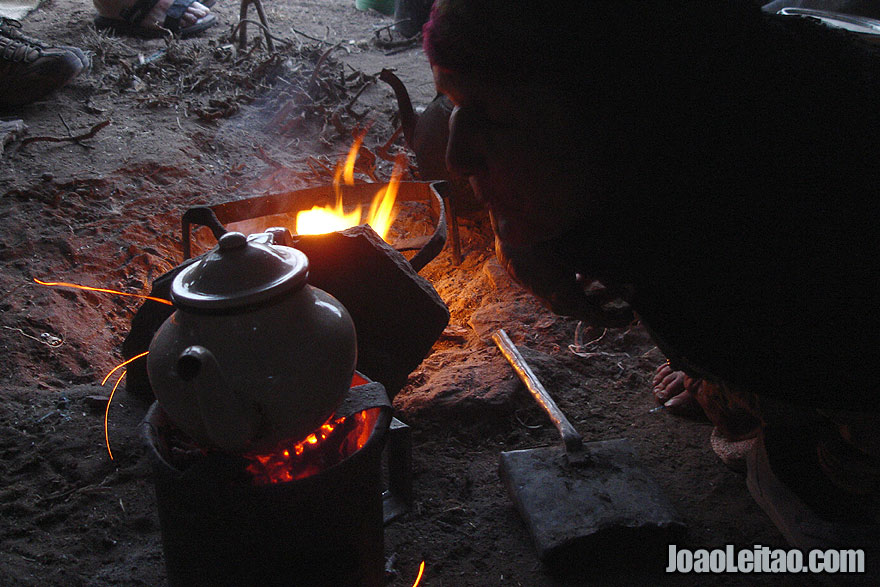 Preparing tea in nomad tent