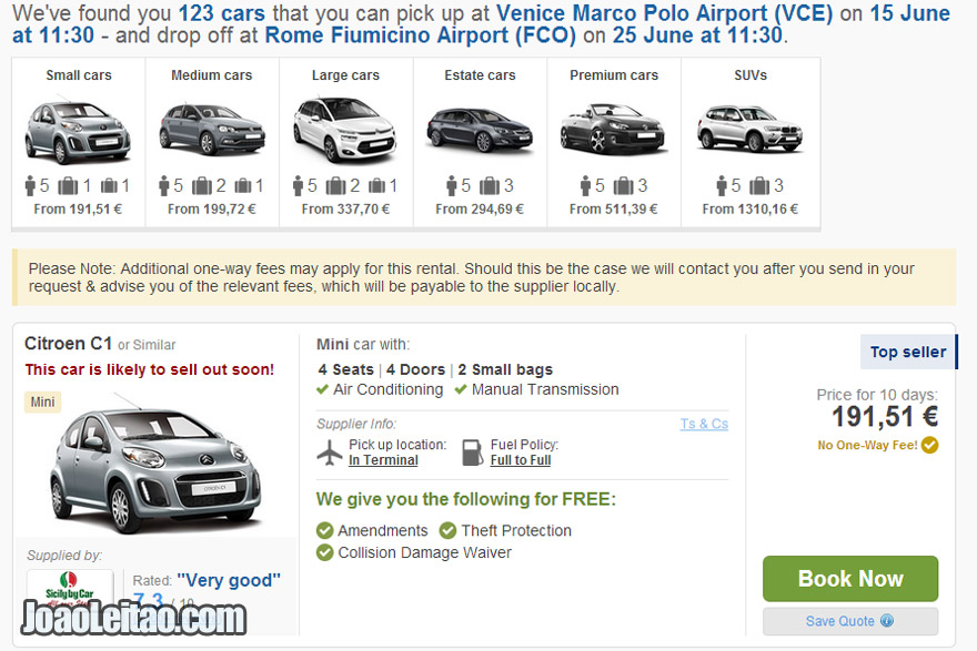 Online car rental to pick up in Venice