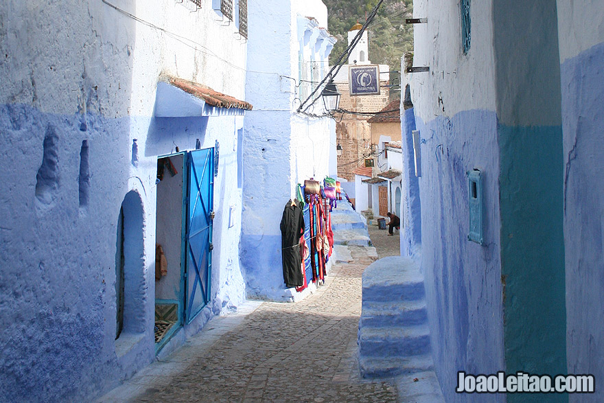 Chefchaouen street with shops
