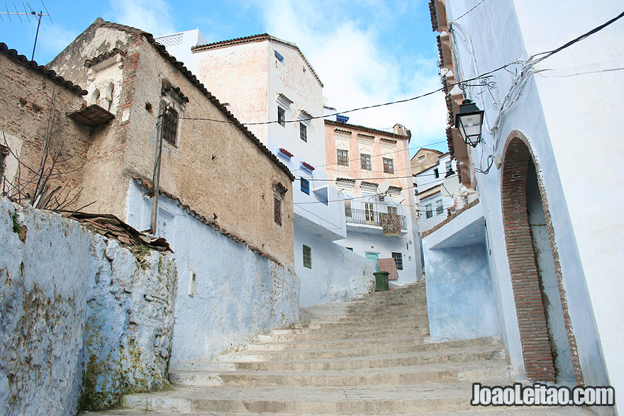 Stairs heading to Chefchaouen city center