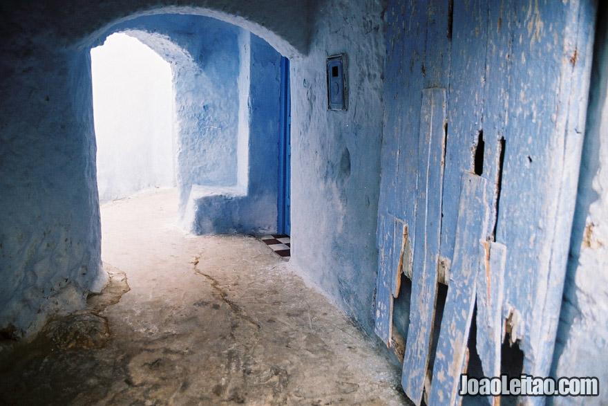 Beco azul em Chefchaouen