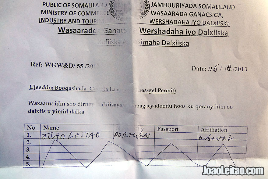 Somaliland government entrance permit to Laas Geel