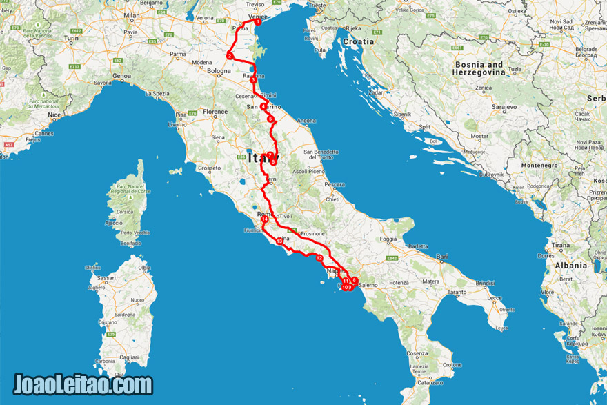 Map of Italy road trip
