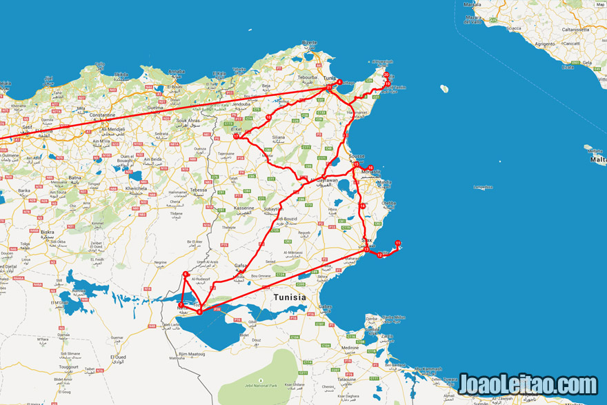 mapa da minha viagem à Tunísia