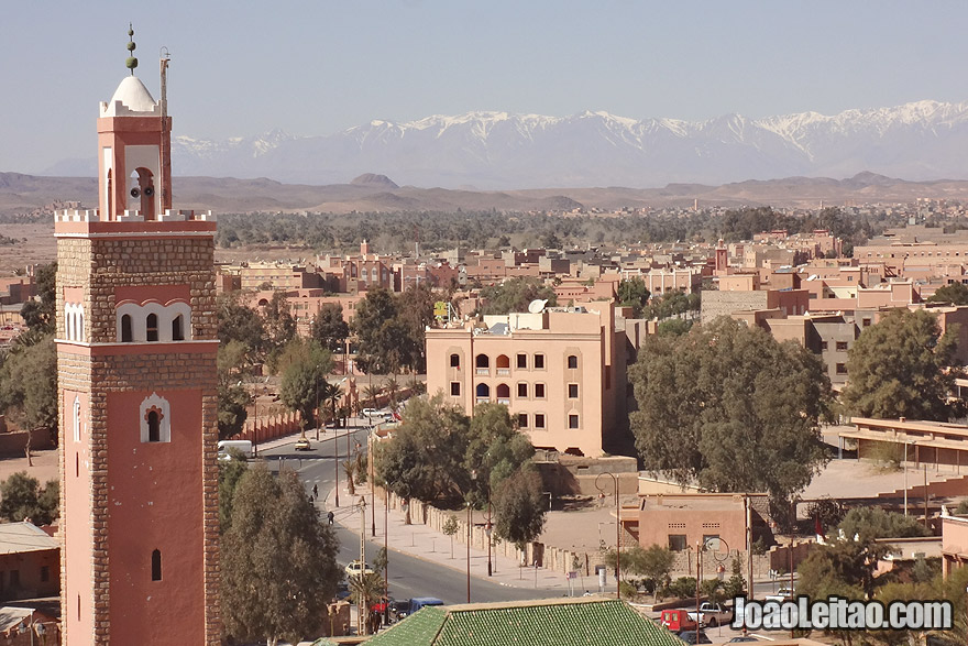 View of the great mosque of Ouarzazate in the city center