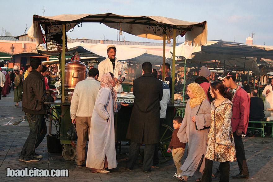 Bancas de chá em Marraquexe