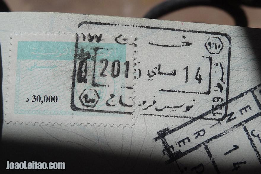 Carimbo da Tunísia no passaporte