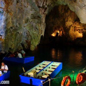 Inside Grotta dello Smeraldo (Emerald Grotto) near Positano,