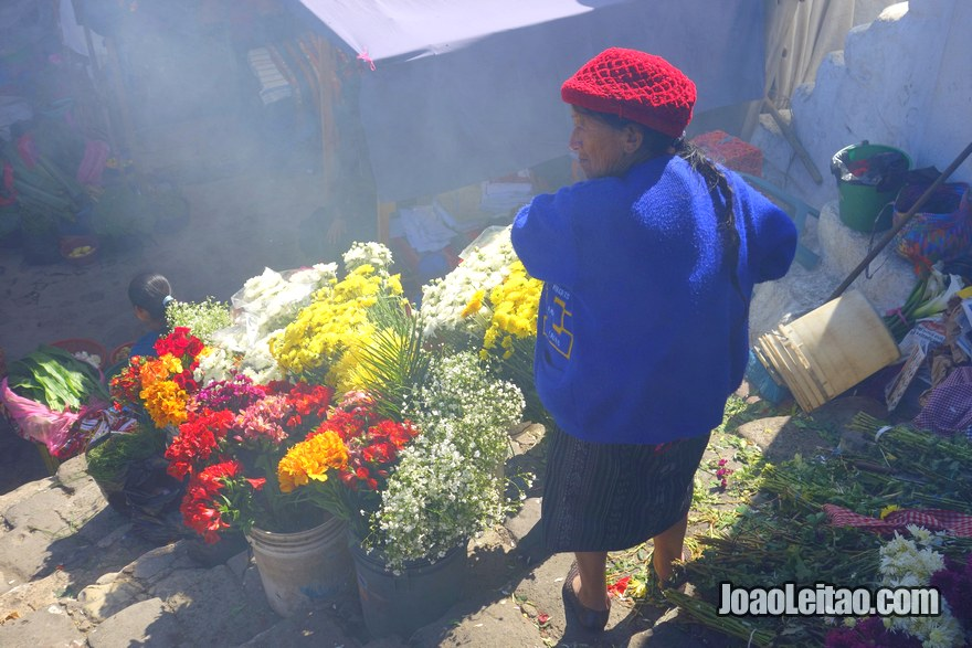 Old woman selling flowers, People of Chichicastenango