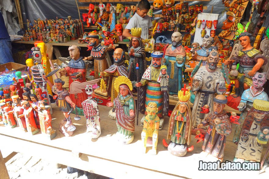 Mix of Christian Catholic saints and pre-Columbian statues