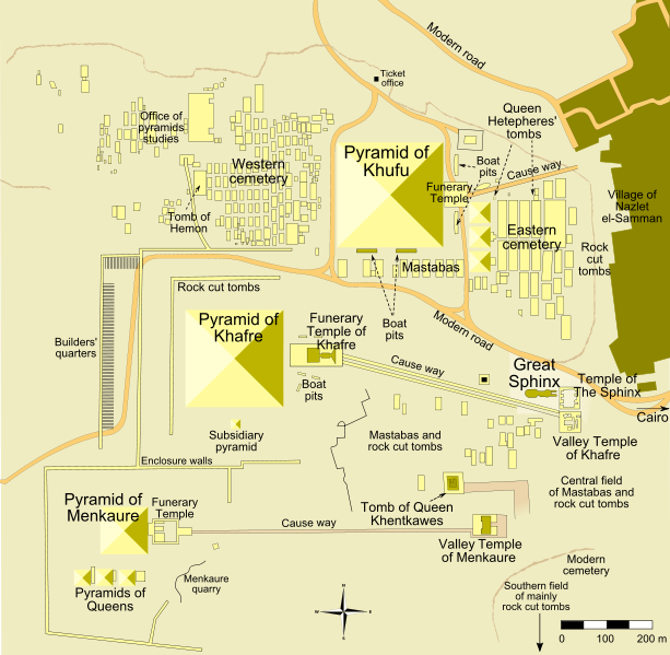 Map of Giza pyramids archaeological site in Cairo
