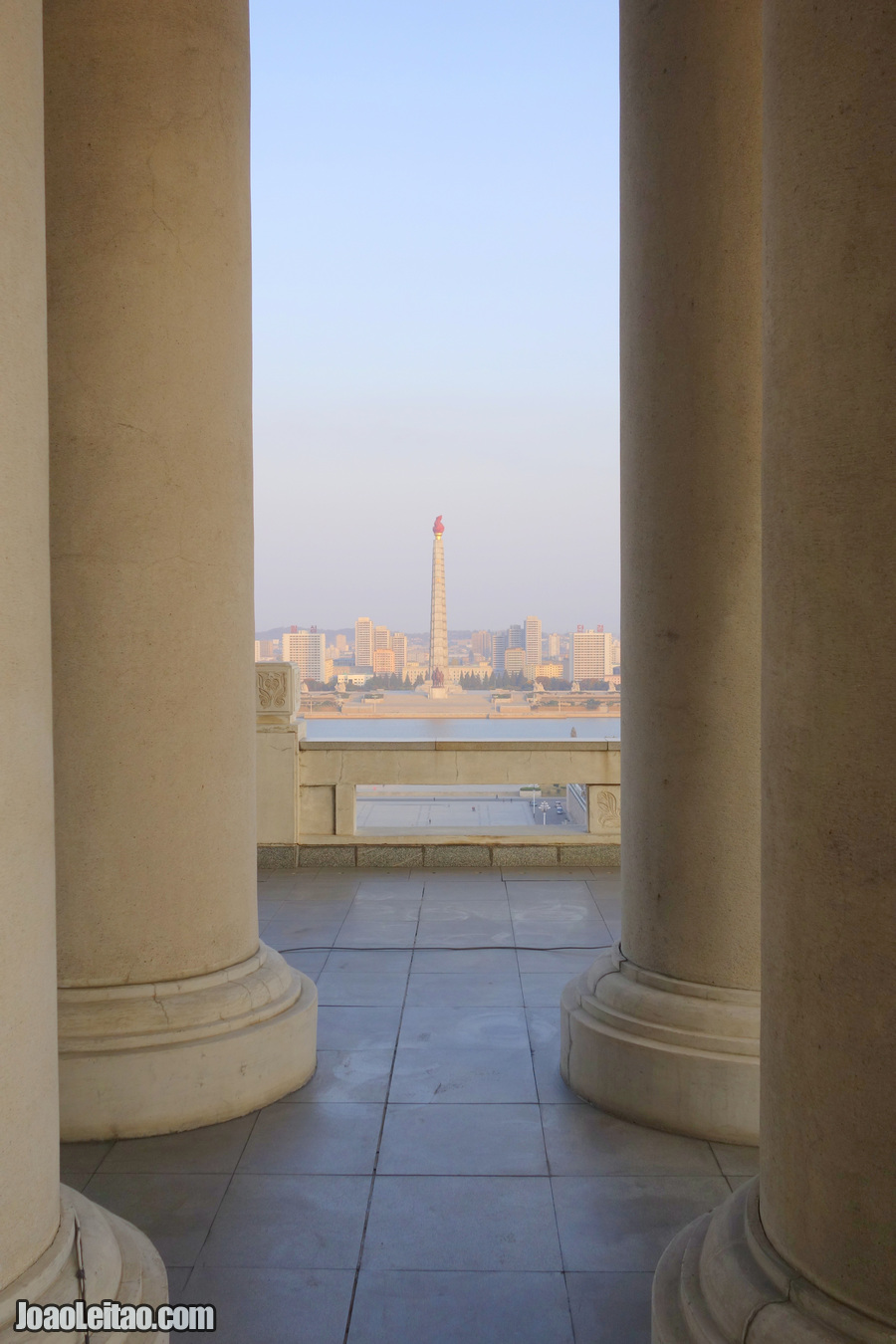 Juche Tower seen from the Grand People's Study House