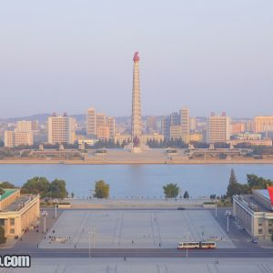 Kim Il-sung Square and Juche Tower seen from the Grand People's Study House