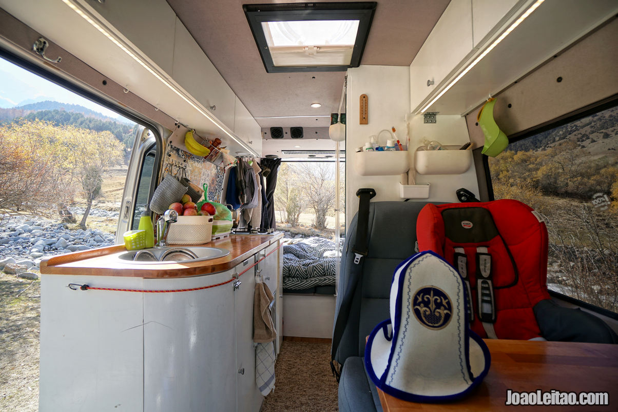 Mercedes Sprinter campervan interior at Kyrgyz Ata National Park