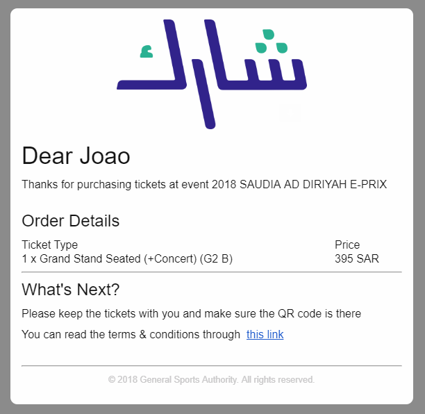 TICKET E PRIX SAUDI ARABIA