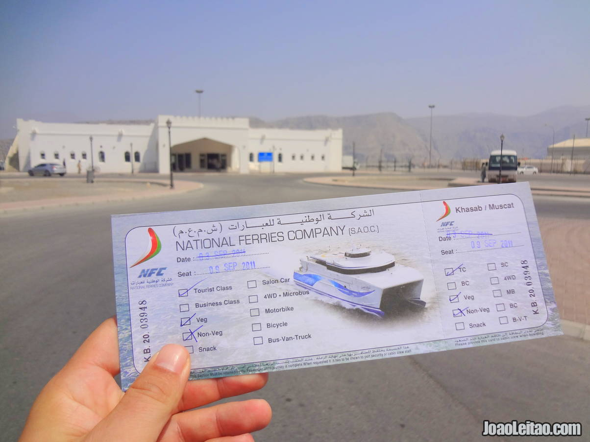 Ticket of Ferry boat from Khasab to Muscat