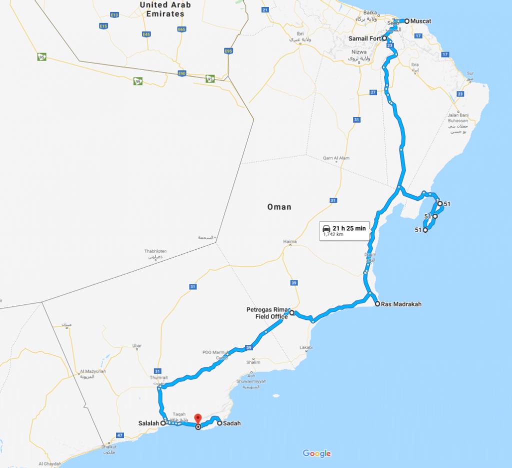 Oman road trip, map Muscat to Salalah