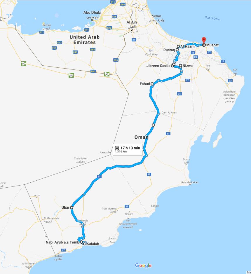 Oman road trip, map Salalah to Muscat