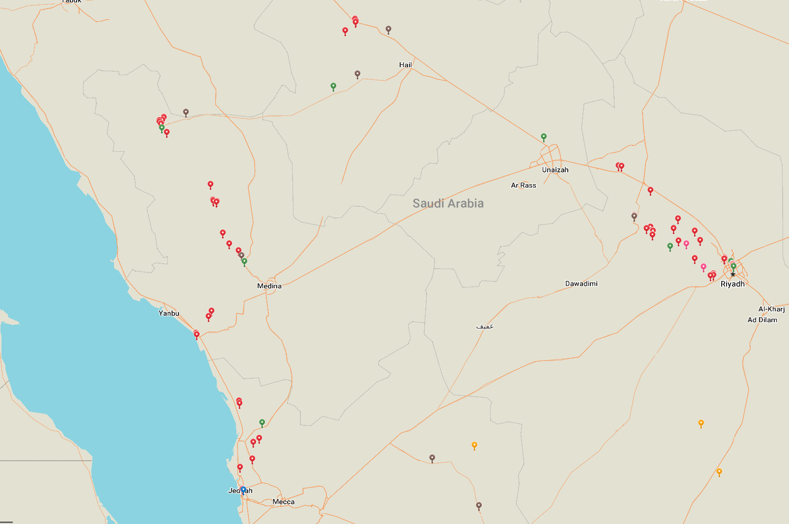MAP DRIVING IN ARABIA SAUDITA