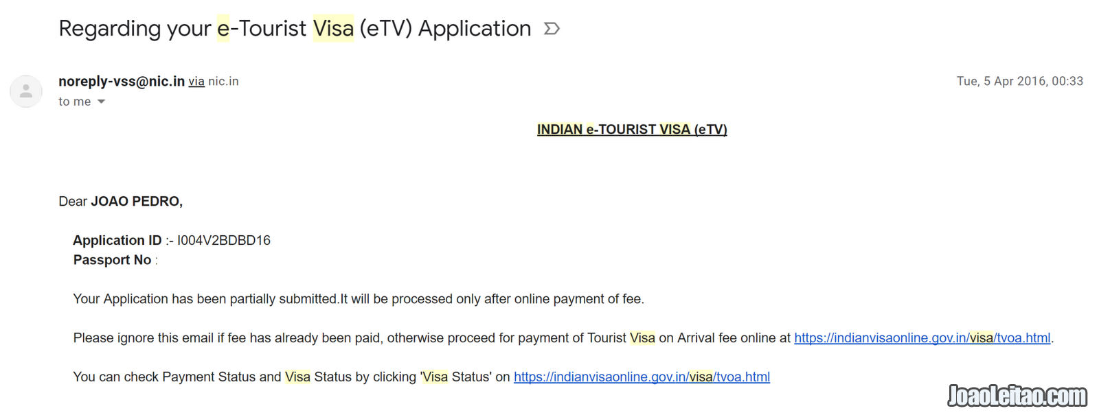 CONFIRMATION OF INDIA VISA APPLICATION, BUT MISSING PAYMENT
