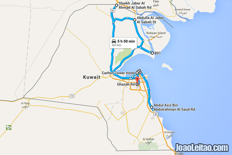 Driving map in Kuwait