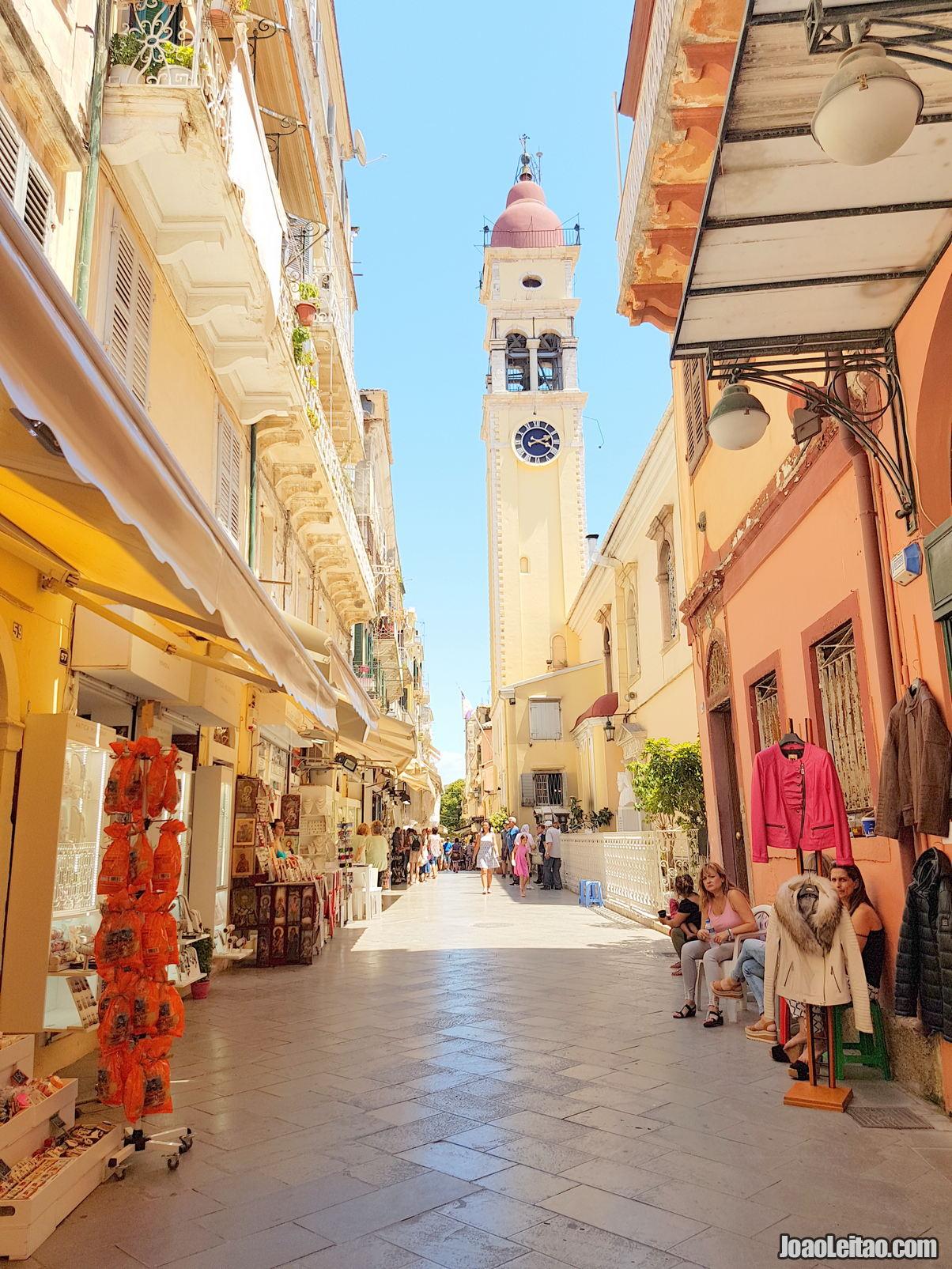 Vlassopoulou Theano street with Saint Spyridon Church in Corfu