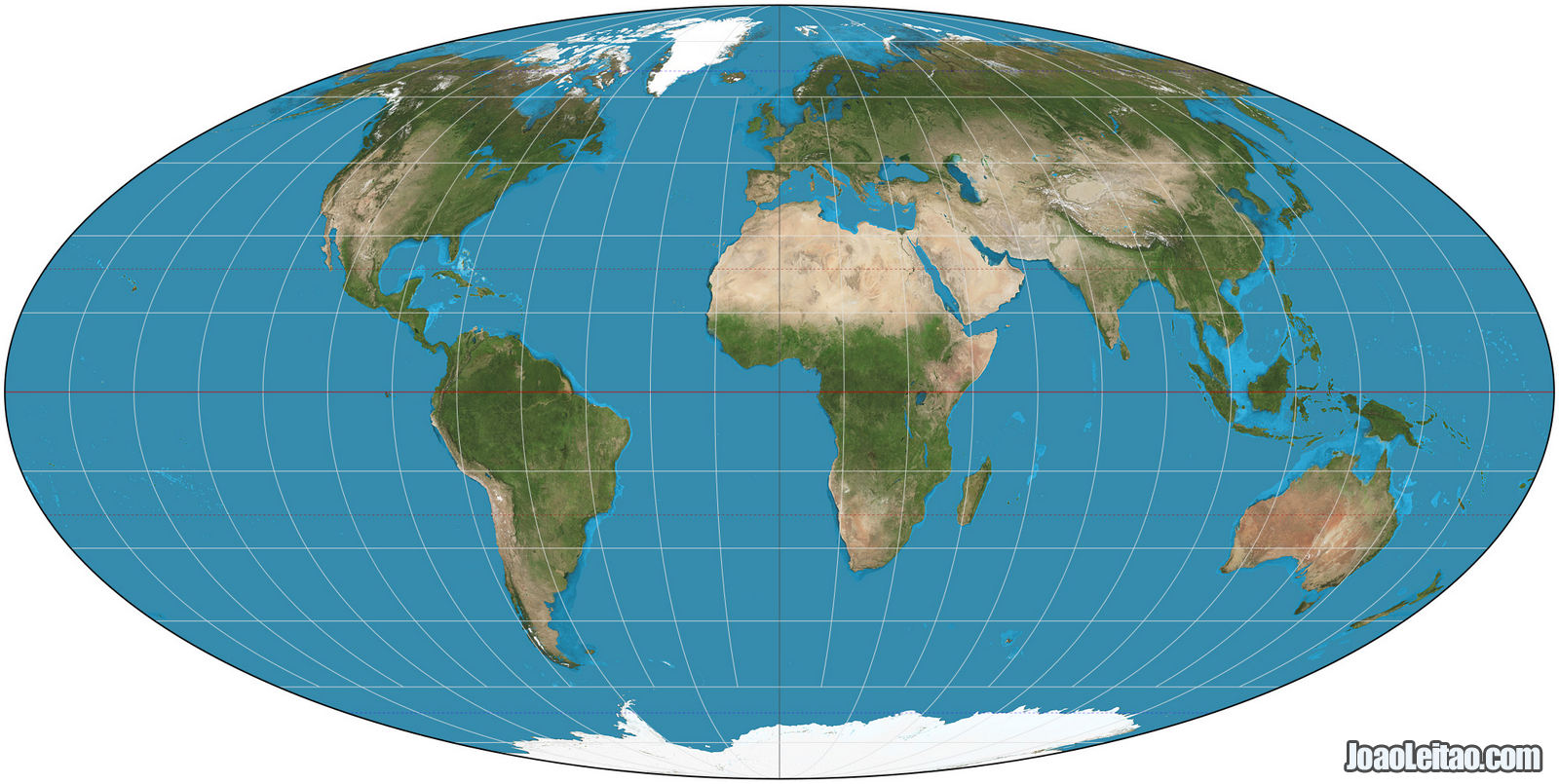 World map with the Mollweide projection