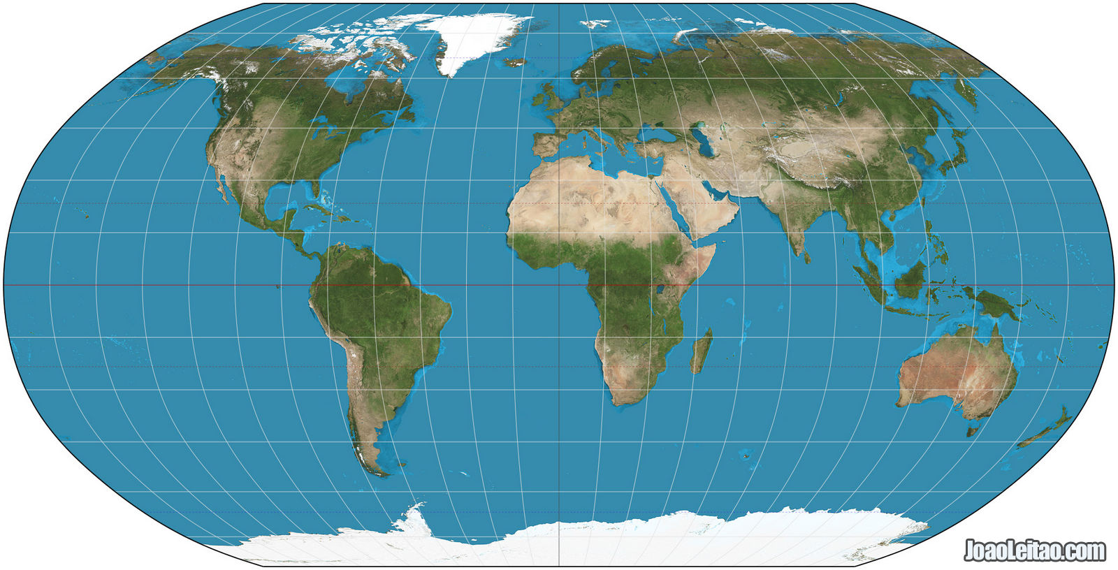 World map with the Robinson projection