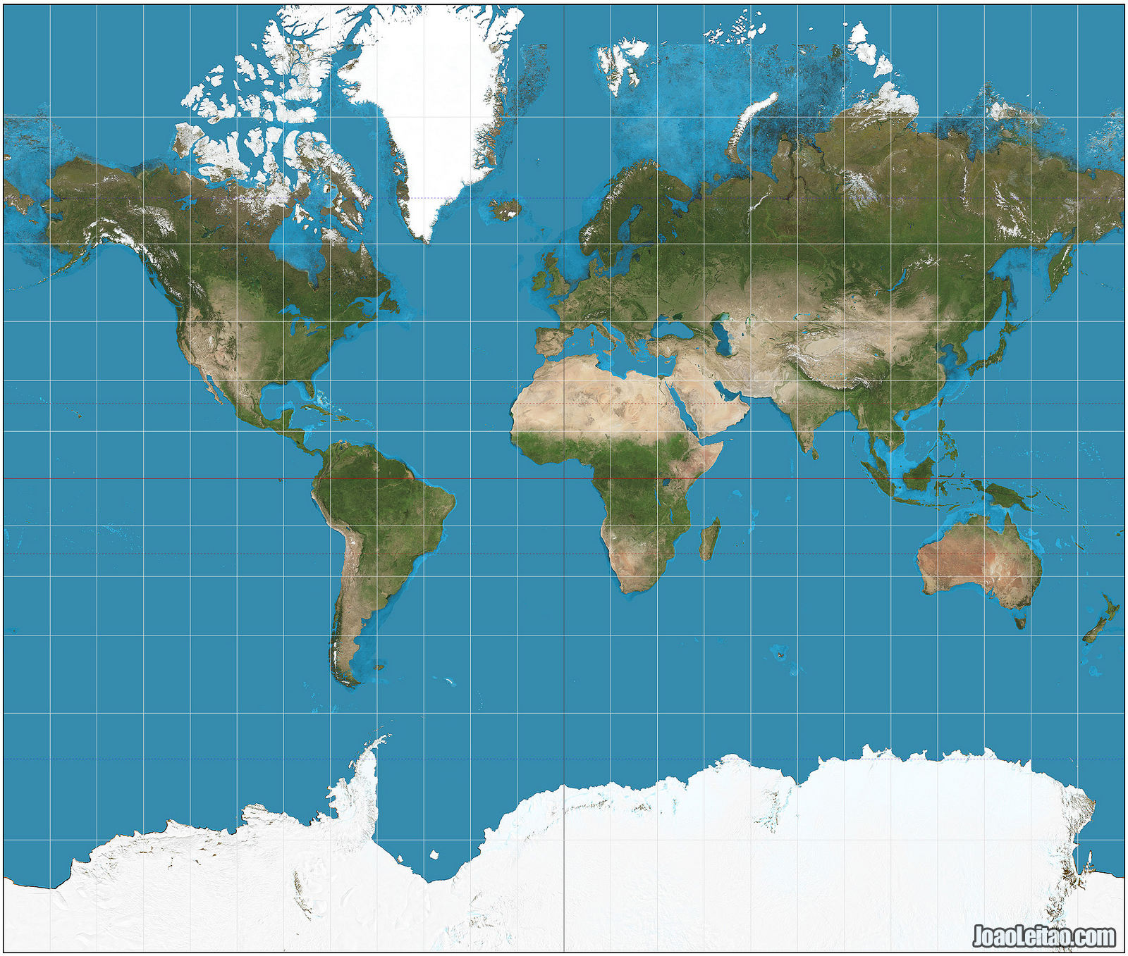World map with the Mercator projection