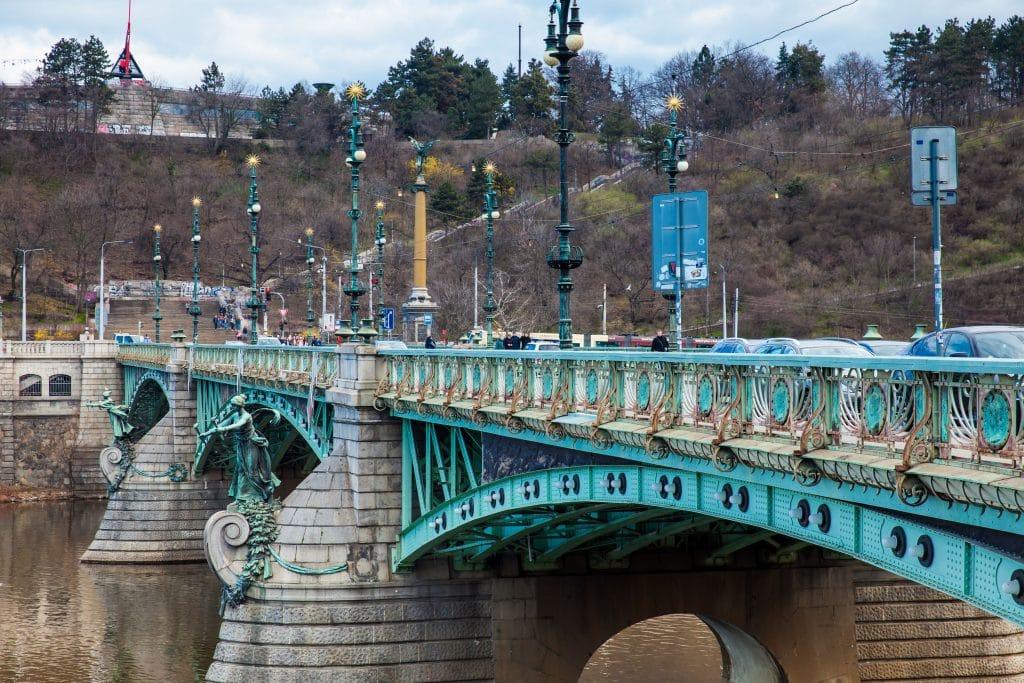 Svatopluk Cech Bridge and Metronome above the park