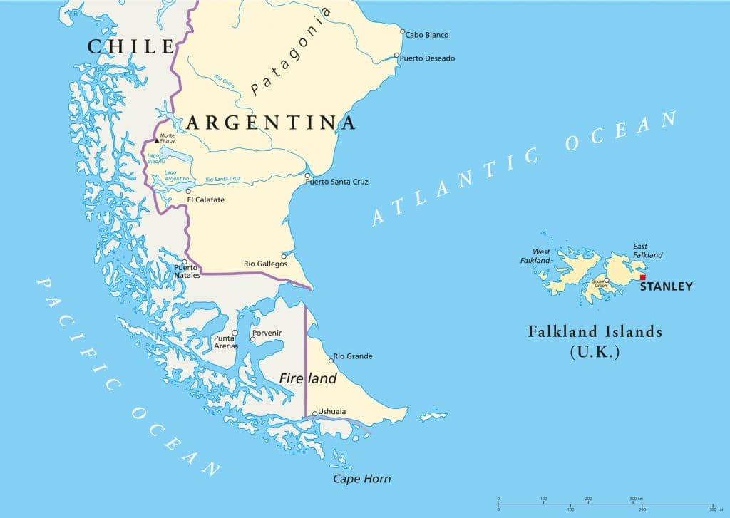 Map Patagonia and Tierra del Fuego