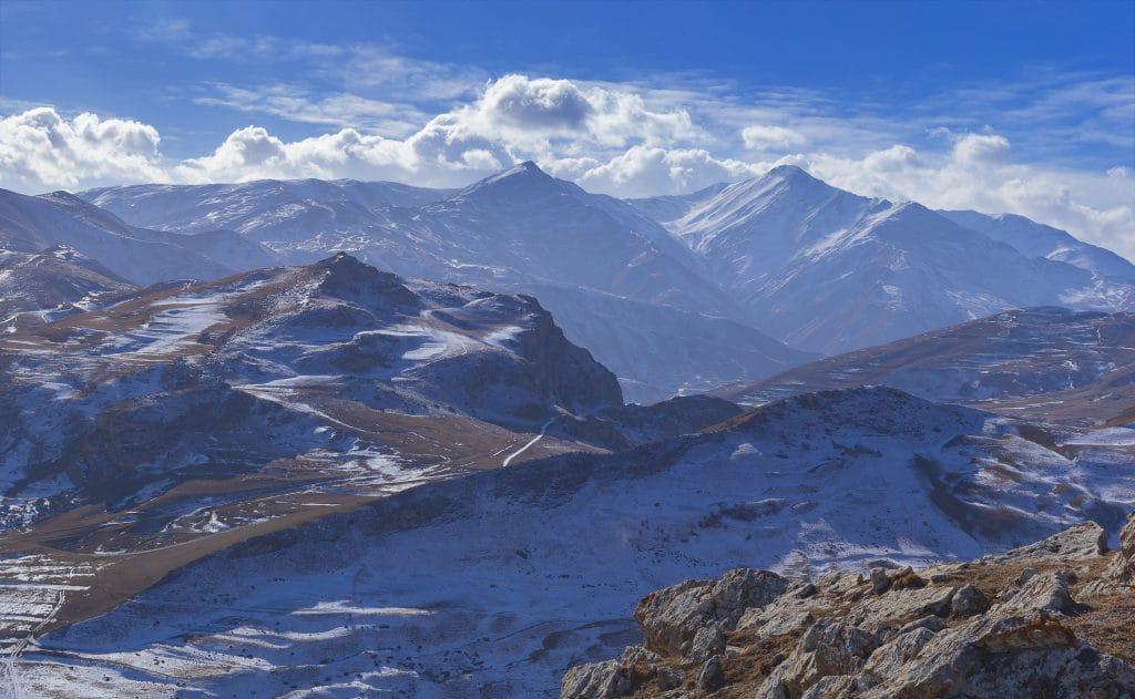 Panorama of winter mountains in Azerbaijan