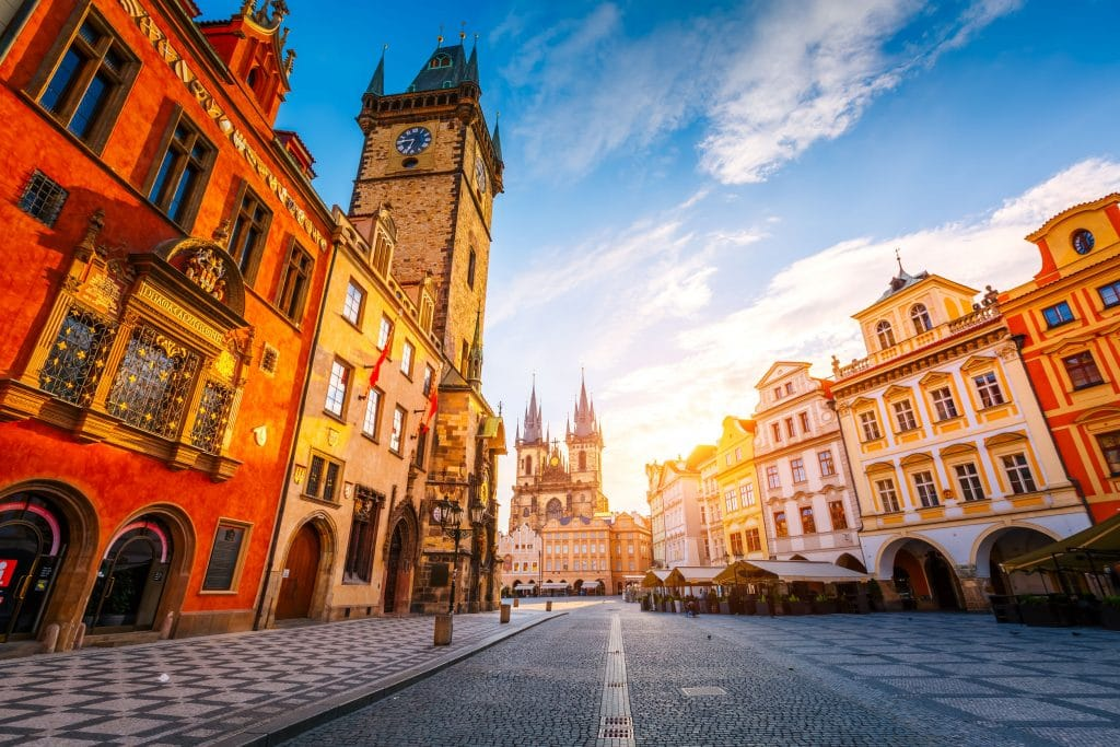 View of the town Hall and Temple of Our Lady in Prague