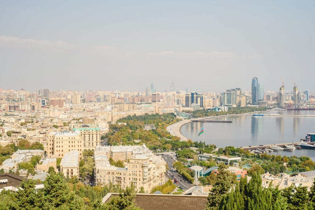 Baku panoramic view from the Martyrs Lane viewpoint