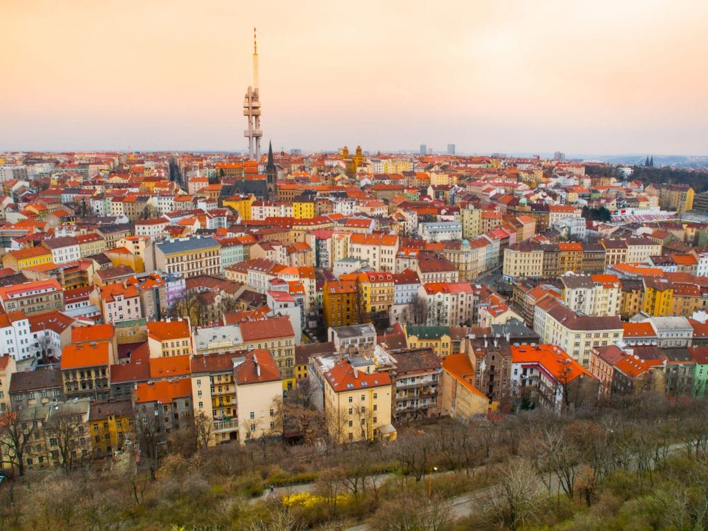 Zizkov town part and television tower in Prague